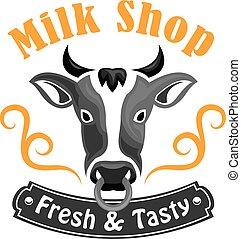 Tienda, emblema, vaca, granja,  vector, leche