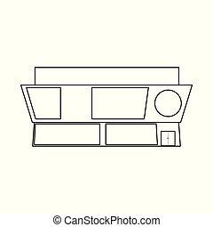 tienda, emporio, illustration., objeto, símbolo., colección, aislado, vector, público, acción