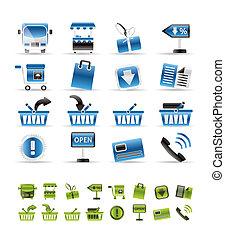 tienda en línea, iconos, -, vector, icono, conjunto