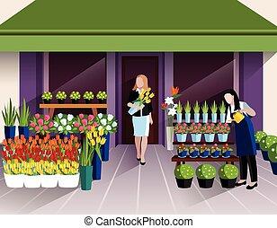 tienda, entrada, flor, bandera