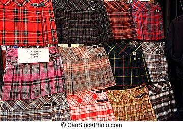 tienda, exterior, faldas escocesas, exhibición, escocés