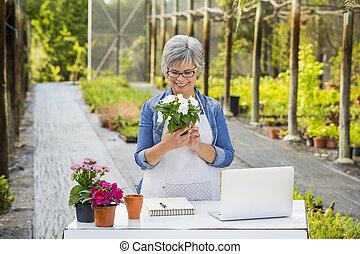 tienda, flor, trabajando