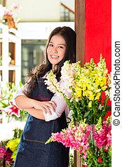 tienda, flor, vendedora, asiático
