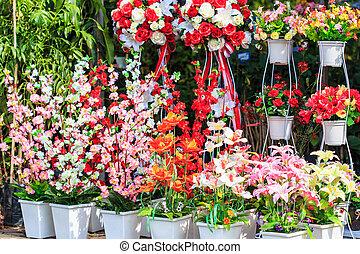 tienda, flores, artificial