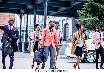 tienda, global, gente, allí, hurring, joven, ventas, africano
