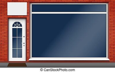 tienda, grande, vitrina, vidrio, fachada, exterior