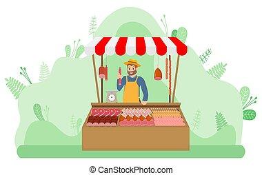 tienda, granja, carne, producción, vendedor, vector