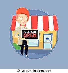 tienda, hembra, signboard., tenencia, dueño, abierto