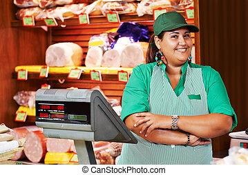 tienda, hembra, supermercado, vendedor