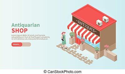 tienda, horizontal, antiquarian, ilustración