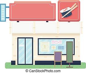 tienda, ilustración, sushi