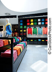 tienda, interior, colorido, ropa