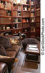 tienda, interior, muebles, biblioteca, usual