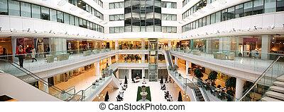 tienda, interior, panorama