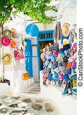tienda, isla, touristic, imagen, mykonos, detalle, griego, ...