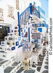 tienda, isla, touristic, imagen, mykonos, detalle, griego, grecia