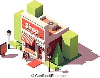 tienda, isométrico, vector, apertura, icono