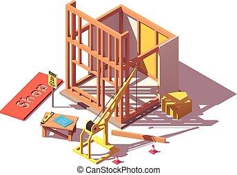 tienda, isométrico, vector, construcción