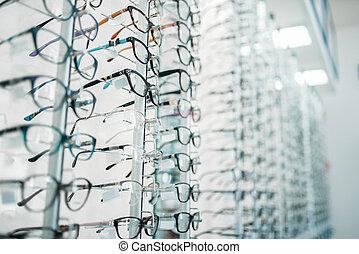 tienda, lentes, gafas de sol, óptico, vitrina