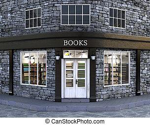tienda libro, exterior, ilustración, 3d