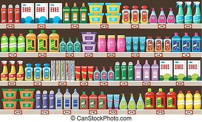 tienda, limpiadores, casa, químicos
