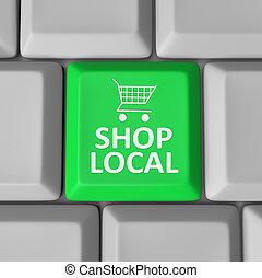 tienda, local, llave computadora, carro de compras, apoyo, comunidad