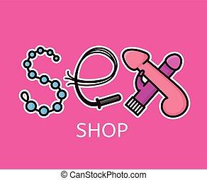 tienda, logotipo, sexo, cartas, design.