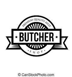 tienda, logotipo, vector, carnicero, vendimia