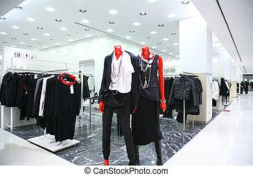 tienda, maniquíes, ropa