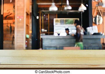 tienda, marrón, café, de madera, imagen, seleccionado, foco, bokeh, plano de fondo, mancha, tabla, vacío