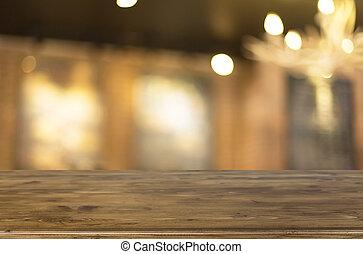 tienda, marrón, café, image., de madera, seleccionado, foco, bokeh, plano de fondo, mancha, tabla, vacío