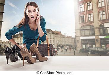 tienda, mirar, ventana, mujer, joven