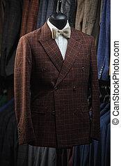 tienda, moda, compras, maniquí, macho, uso, traje, formal, venta al por menor, modelo, tienda, interior