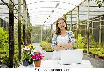 tienda, mujer, flor, trabajando
