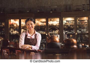 tienda, mujer, joven, asiático