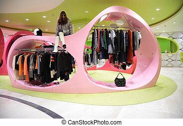 tienda, mujer, moderno, ropa
