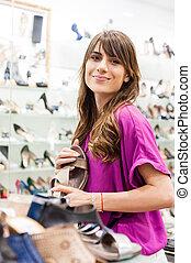 tienda, mujer, shoes