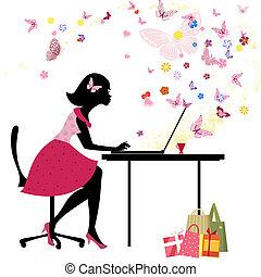 tienda, niña, amores, en línea