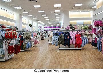 tienda, niño, ropa