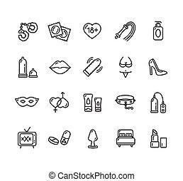 tienda, o, set., sexo, icono, vector, intim