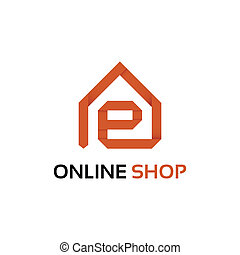 tienda, origami, en línea, logotipo