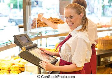 tienda, panadero, registro, cajero, efectivo, posar