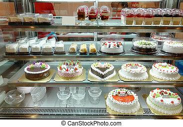 tienda, pastel, pasteles, exhibición, variedad