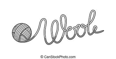 tienda, pelota, emblema, etiqueta, lana, sastre, yarn., tejido de punto, mano hecha, o
