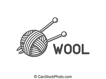 tienda, pelota, emblema, hilo, etiqueta, lana, sastre, tejido de punto, needles., mano hecha, o