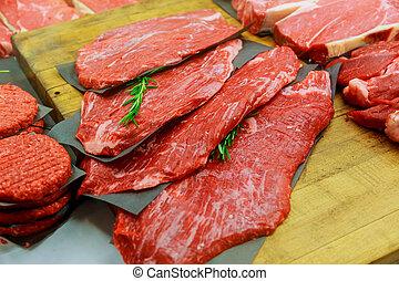 tienda, pequeño, productos, carne, carnicero