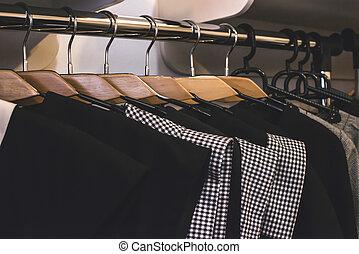 tienda, perchas, ropa