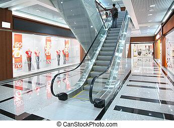 tienda, personas, escalera mecánica