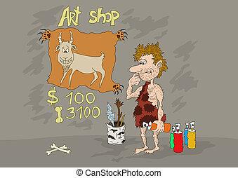 tienda, piedra, arte, edad