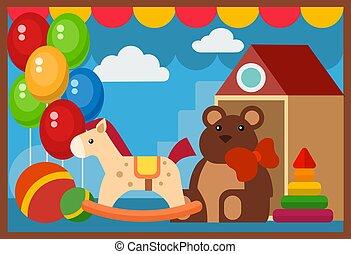 tienda, plano, edificio, vitrina, restaurante, escaparate, ventana, vector, diseño, arquitectura, juguetes, fachada, mercado, illustration.